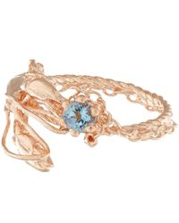Alex Monroe - Pink Rose Gold-plated Lobster Aquamarine Ring - Lyst