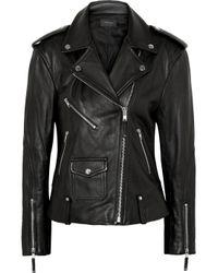 Theory Black Dalayan Leather Biker Jacket