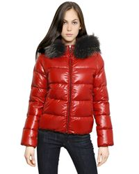 Duvetica Red Adhara Nylon Down Jacket with Fur