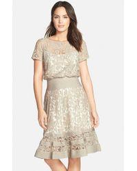 Tadashi Shoji Natural Embroidered Lace & Pintuck Blouson Dress
