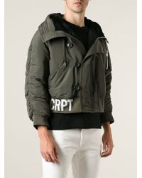 Raf Simons Green Sterling Ruby Military Style Padded Jacket for men