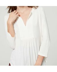 LOFT - White Petite Pintucked 3/4 Sleeve Top - Lyst