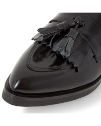 Dune Black Black Ginnie Toe Pointed Leather Tassel Loafers