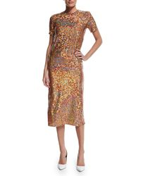 Nina Ricci - Brown Sequin-embellished Midi Pencil Skirt - Lyst