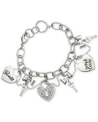 Guess | Metallic Silver-tone Heart Charm Bracelet | Lyst
