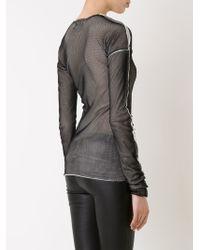 Lost & Found - Black Long Sleeve Mesh T-shirt - Lyst