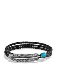 David Yurman - Frontier Feather Triple-wrap Bracelet In Black With Turquoise for Men - Lyst