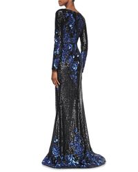 Badgley Mischka | Blue Long-sleeve Plunge-neck Illusion Sequined Gown | Lyst