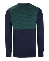Paul Smith Navy and Green Waffle Knit Jumper for men