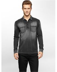 Calvin Klein - Black Jeans Slim Fit Acid Wash Long Sleeve Polo Shirt for Men - Lyst