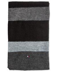 Tommy Hilfiger | Black Brushed Color Block Scarf for Men | Lyst