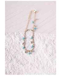 Missguided | Blue Turquoise Beaded Anklet | Lyst