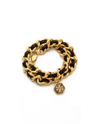 Tory Burch | Metallic Leather Chain Wrap Bracelet Blackshiny Gold | Lyst