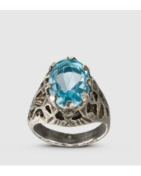 Gucci - Ring With Light Blue Glass Stone for Men - Lyst
