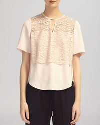 Whistles Pink Top - Leila Lace Inset Shell