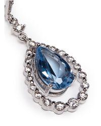 CZ by Kenneth Jay Lane | Blue Suspended Pear-cut Drop Earrings | Lyst