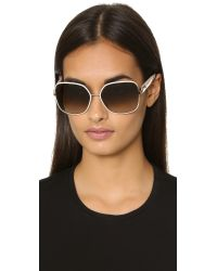 Ferragamo | White Buckle Sunglasses | Lyst