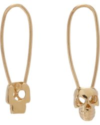 Loren Stewart | Yellow Gold Skull Safety Pin Earrings | Lyst