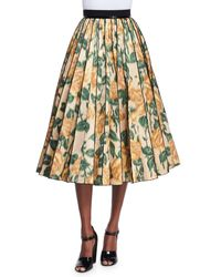 Marc Jacobs Gray Floral Ikat Pleated Midi Skirt
