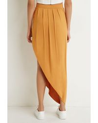 Forever 21 | Orange Pleated Asymmetrical Skirt | Lyst