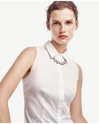 Ann Taylor | Metallic Oversize Crystal Necklace | Lyst
