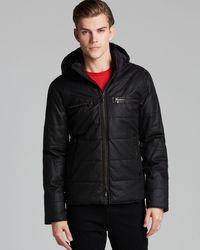 John Varvatos | Black Quilted Double Collar Coat for Men | Lyst