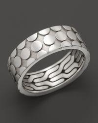 John Hardy Metallic Mens Dot Silver Band Ring for men