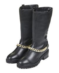TOPSHOP Black Deluxe Chain Ankle Boots