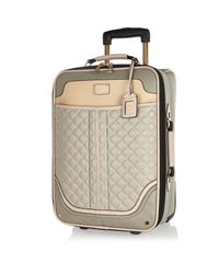 River Island Gray Grey Quilted Wheelie Suitcase