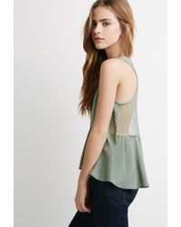 Forever 21 | Green Polka Dot Mesh-paneled Tank You've Been Added To The Waitlist | Lyst