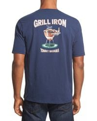 Tommy Bahama Blue 'grill Iron' Crewneck T-shirt for men