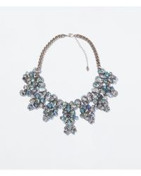 Zara | Metallic Rhinestone Necklace | Lyst