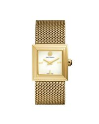 Tory Burch - Metallic Sawyer Watch, Gold-tone Mesh/etched, 25 Mm - Lyst