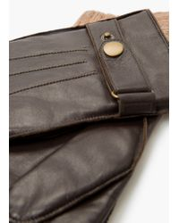 Mango - Brown Tab Leather Gloves for Men - Lyst