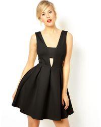 ASOS | Black Neoprene Bonded Bra Insert Skater Dress | Lyst