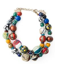 Etro - Multicolor Double Layer Large Beaded Necklace - Lyst