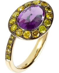 Annoushka | Multicolor Dusty Diamonds 18ct Yellow-gold Amethyst And Diamond Side Ring | Lyst