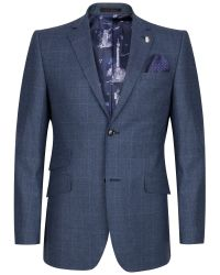 Ted Baker Blue Maltez Windowpane Check Tailored Suit Jacket for men