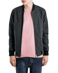 TOPMAN - Gray Charcoal Wool Blend Bomber Jacket for Men - Lyst
