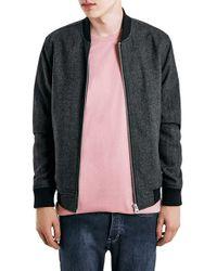 TOPMAN | Gray Charcoal Wool Blend Bomber Jacket for Men | Lyst