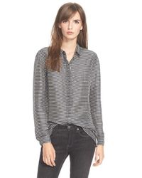 Burberry Brit - Blue Stripe Linen & Mulberry Silk Shirt - Lyst