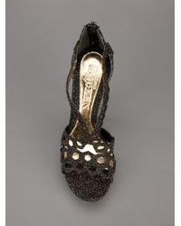 Alexander McQueen Black Perforated Strap Sandal