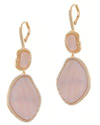 Kenneth Jay Lane | Pave Pink Mother Of Pearl Earrings | Lyst