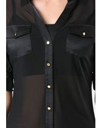 Bebe | Black Mesh Front Button Shirt | Lyst