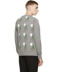 Undercover Gray Grey Patterned Back Panel Sweater for men