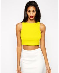 ASOS | Crop Top In Premium Fabric With Square Neck - Black | Lyst