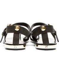 Giuseppe Zanotti - Black Leather Metal Accent Sandals for Men - Lyst