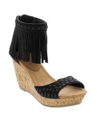 Minnetonka | Black Isabel Suede Fringe Wedge Sandals | Lyst