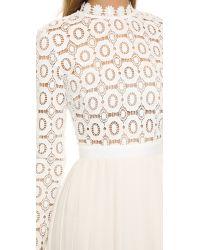 Self-Portrait Natural Pleated Crochet Crepe Maxi Dress