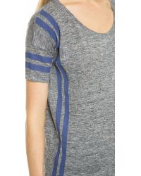 Madewell Gray Banded Tee in Court Stripe - Voyage Blue